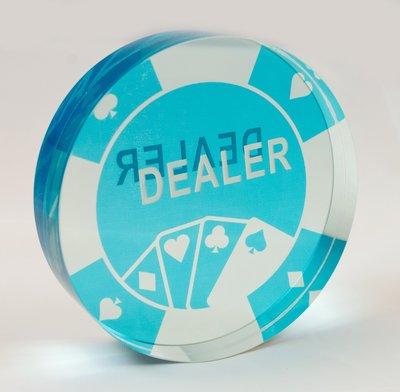 Dealer 牌 E款 半透明水晶壓克力 壓牌 莊碼 德州撲克 使用