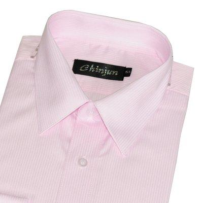 【CHINJUN】抗皺襯衫-長袖、粉底粉條紋、編號:K-705