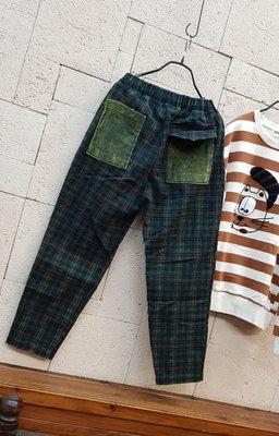 蘋果樹 韓國服飾 • guru:rim鬆緊腰帶格紋褲 磨毛 彈性大