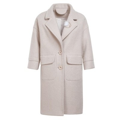 毛呢 外套 長版大衣-純色氣質翻領加厚女外套2色73ui8[獨家進口][米蘭精品]