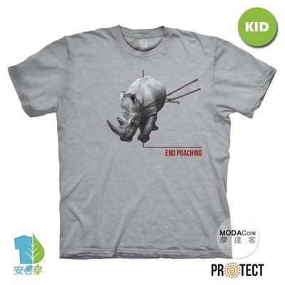 摩達客-預購-美國The Mountain保育系列 拒捕犀牛 兒童灰色純棉短袖T恤