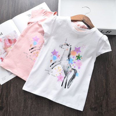 【Mr. Soar】 C577 夏季新款 歐美style童裝女童短袖T恤 現貨