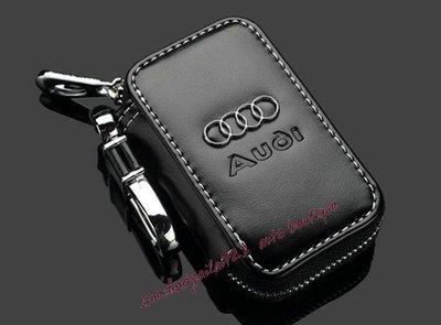 Audi奧迪真皮鑰匙包A1A3A4A5A6A7A8Q3Q5Q7TT汽車真皮鑰匙套遙控袋