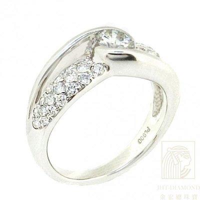 【JHT 金宏總珠寶/GIA鑽石專賣】0.330ct天然鑽石戒指/材質:PT900(2545)
