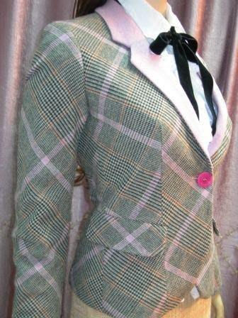 敦南boutique購入真品《Emanuel Ungaro》Fever經典粉紅千鳥格西裝外套