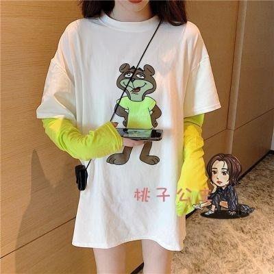 長袖T恤 2020春秋季新款新款假兩件長袖t恤女學生新韓版寬鬆小熊拼接上衣網紅ins 2色AP-004