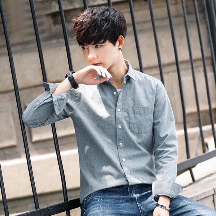 長袖襯衫 襯衫男長袖韓版修身秋季外套潮流男士加絨加厚寸衫保暖休閒白襯衣