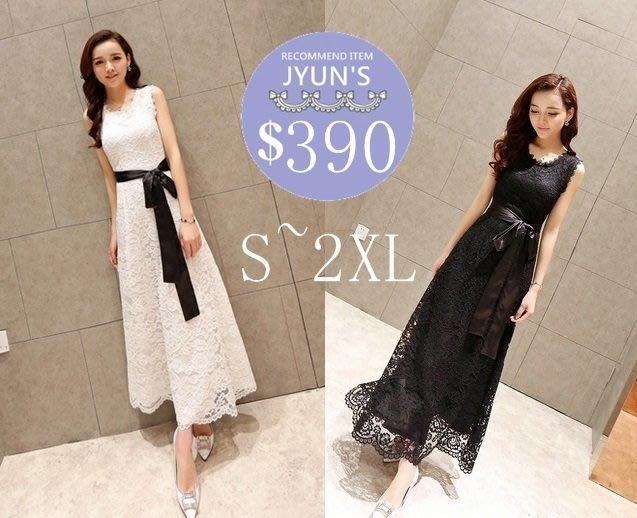 洋裝 實拍 日韓版歐美新款純色蕾絲優雅氣質長款長裙綁帶無袖連身裙婚禮服尾牙2色中大尺碼(S~2XL)-JYUN'S