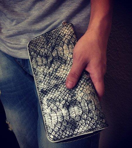 經典 蛇皮 包款 長夾 復古刷銀