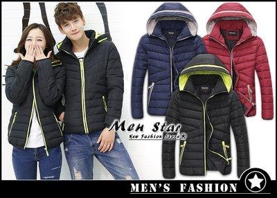 【Men Star】免運費 韓版防寒外套 棉質連帽外套 輕羽絨 情侶外套 情侶裝 保暖外套 短大衣 運動外套 羽絨外套