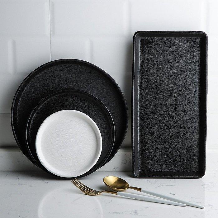 爆款 雪花釉黑白純色陶瓷餐盤淺盤菜盤方形盤早餐盤西餐盤牛排盤#餐具#陶瓷#日式