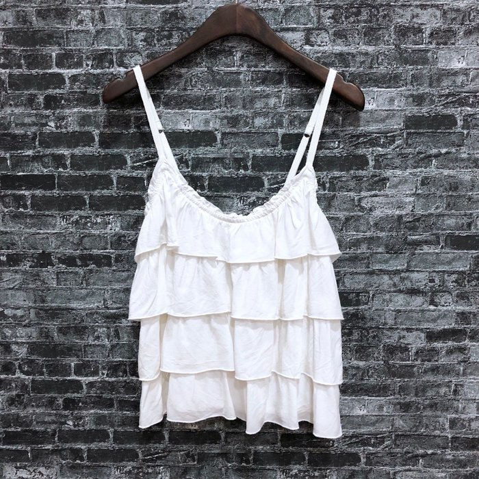 Maple麋鹿小舖 Abercrombie&Fitch * AF 白色細肩帶層次上衣 * ( 現貨M號 )