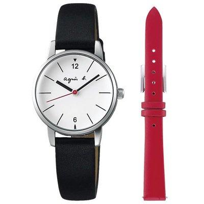 agnes b. 法式優雅 簡約設計套錶組(白x黑/26mm) BH8032X1/贈原廠皮錶帶乙條VJ21-KG40Z