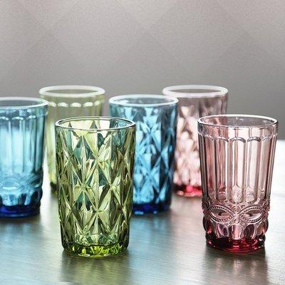 禧禧雜貨店-復古浮雕水杯 加厚玻璃杯子家用透明可愛玻璃杯大號創意果汁杯#新款