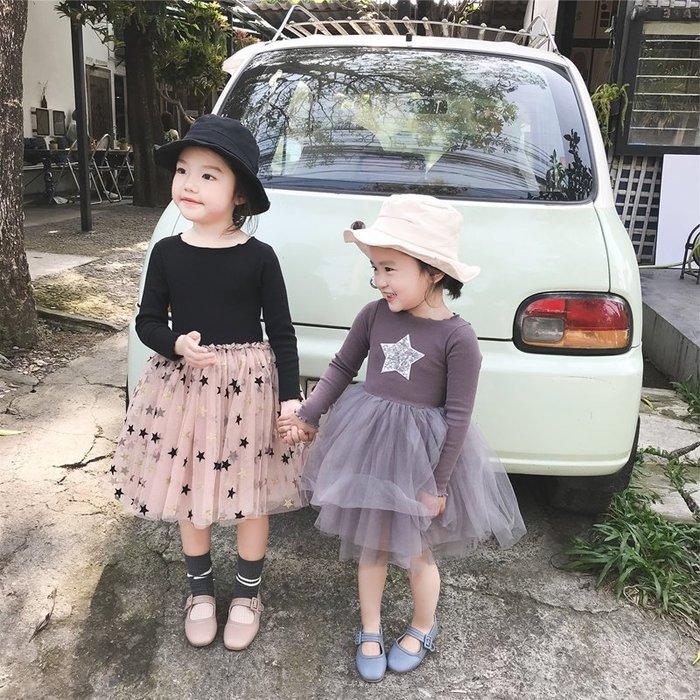 【小阿霏】兒童長袖洋裝 女童拼接網紗星星連身裙子 春秋純棉連衣裙 3-8歲尺碼CL127