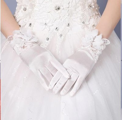 春季上新 新娘婚紗手套短款蕾絲韓式白色婚禮結婚配飾鍛手套全指秋新款