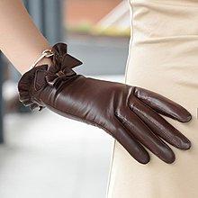 皮手套手套女薄款皮手套女士秋冬手套女式蕾絲蝴蝶結皮手套免運直出