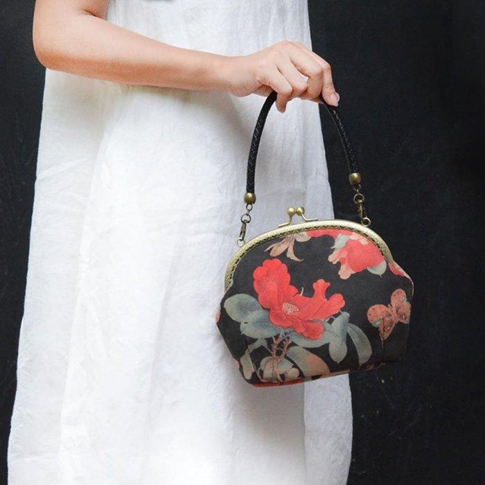 【那年花開】原創絨布印花手提包 單肩斜跨包鏈條百搭女布包手機零錢袋包包