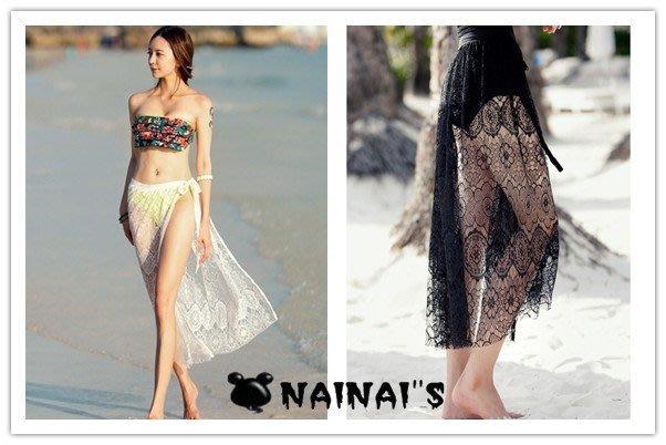 【NAINAIS】SS 9992 韓版 波西米亞海洋度假風 比基尼必備 蕾絲綁帶沙灘半身裙長裙罩裙 線+預