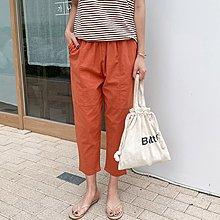 Bellee 正韓  挺版有彈性 鬆緊口袋9分棉質老爺褲  (3色) 【Z0713-18】 預購
