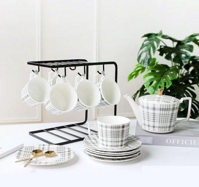 ☆╮布咕咕╭☆台面馬克杯架北歐風鐵藝咖啡杯鐵藝收納架6掛勾瀝水咖啡杯碗盤置物架