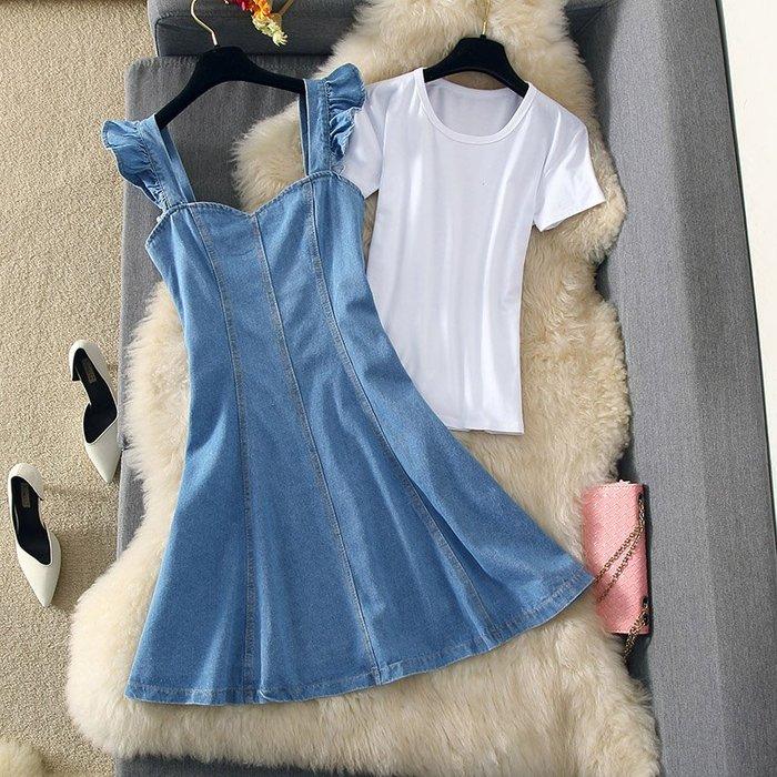 牛仔洋裝 半身裙 A字裙 時尚套裝連衣裙19木耳邊氣質收腰顯瘦牛仔裙中裙百搭T恤