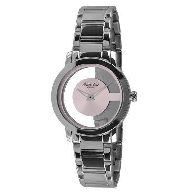 破盤大降價!全新 Kenneth Cole 銀色淡粉紅透明環錶面造型手錶,低價起標無底價!本商品免運費!