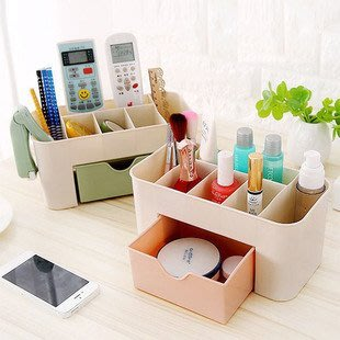 抽屜化妝品收納盒化妝刷整理盒 桌面首飾護膚品分格梳妝盒 桌面收納盒 化妝品收納盒 雜物收納盒 收納盒(不挑色)