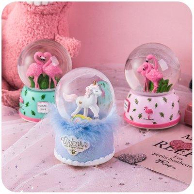 少女心玻璃球圣誕節水晶球生日禮物女生音樂盒八音盒天空之城擺件