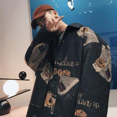 風衣 日系 中長款 寬鬆 百搭港風毛呢大衣男士寬松學生帥氣韓版潮流冬季風衣加厚印花呢子外套