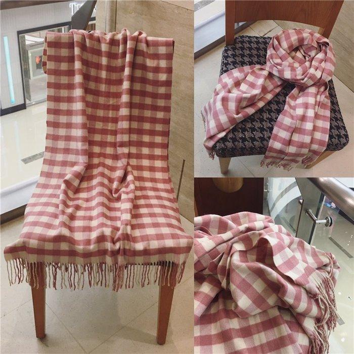 (輕舞飛揚) 圍巾女 小格子方塊流蘇仿羊絨圍巾學生保暖圍脖披肩 粉格