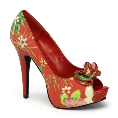 Shoes InStyle《五吋》美國品牌 PIN UP CONTURE 原廠正品印花布面厚底魚口鞋有大尺碼出清『紅色』