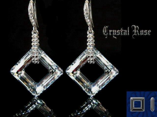 ※水晶玫瑰※ SWAROVSKI 大方環水晶 晶鑽耳勾式耳環(DD030)~3色可選