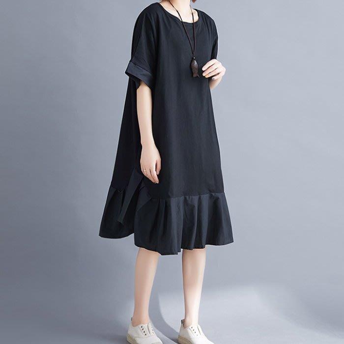 漂亮小媽咪 森林系 洋裝 【D3826】 荷葉裙 短袖 開扣 文藝 加大  棉麻 孕婦裝 魚尾裙