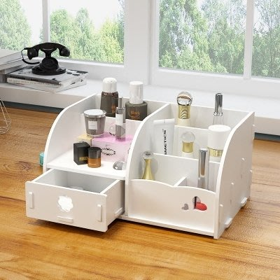 收納盒 桌面化妝品收納盒木制迷你梳妝台簡約護膚品收納整理盒置物架家用