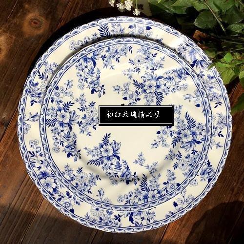 粉紅玫瑰精品屋~青花美式法式陶瓷西餐盤~二個一套