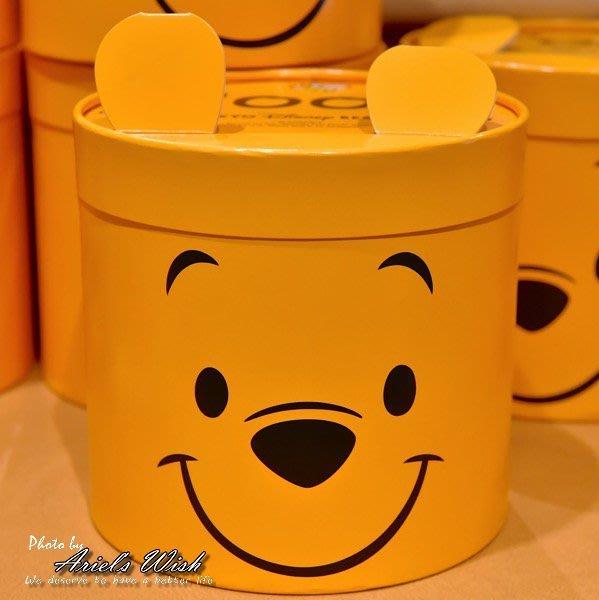 Ariel's Wish預購-日本東京迪士尼Disney小熊維尼winnie立體耳朵仙貝餅乾圓桶收納禮盒組--日本製--