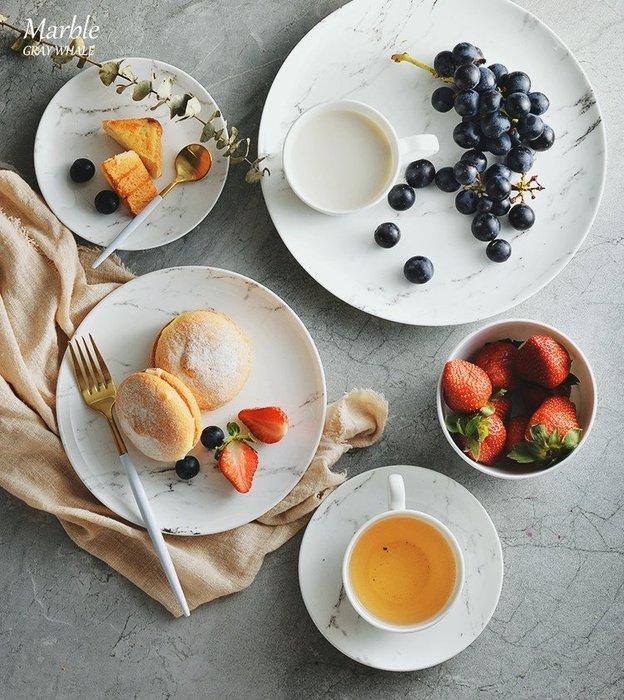 尼克卡樂斯~北歐設計大理石紋骨瓷餐盤組 北歐風餐具 餐廳餐盤 咖啡杯碟 下午茶碟