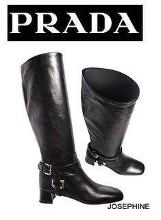喬瑟芬【PRADA】現貨~2011秋冬黑色 水洗小牛皮 可拆式金屬釦長靴(3.5cm)