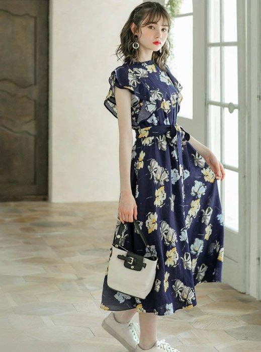 預購 日本 漂亮花朵圖騰雪紡洋裝  洋裝