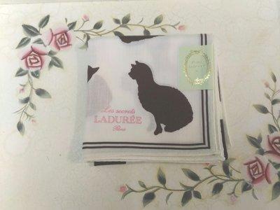 LADUREE 白色底 貓咪  手帕領巾方巾絲巾 日本帶回