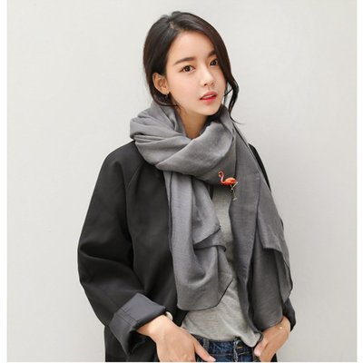 日韓版珍珠火烈鳥女配飾珍珠別針簡約卡通大氣七彩貝珠開衫披肩扣