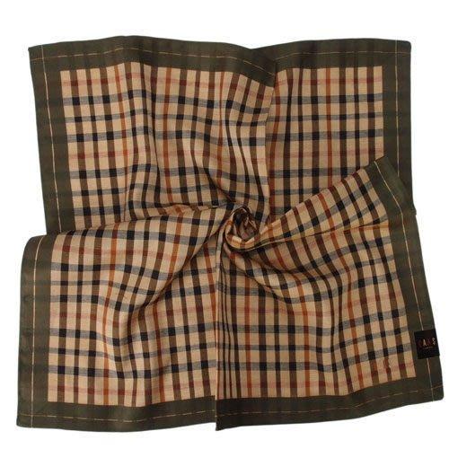 【姊只賣真貨】DAKS經典格紋LOGO刺繡領巾手帕帕巾(綠邊)父親節88節禮物