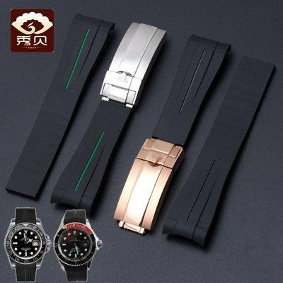 錶帶 手錶配件適配勞力士黑綠水鬼表帶Rubber B橡膠硅膠潛水手表帶游艇名仕20mm