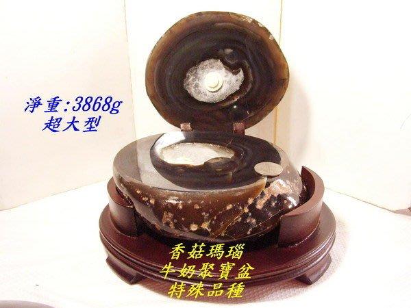 小風鈴~天然桌上型香菇瑪瑙牛奶聚寶盆~(淨重3868g)結晶閃亮洞深/聚財首選~含底座!