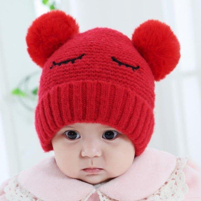 嬰兒帽子秋冬0-12個月毛球加厚1歲寶寶毛線帽