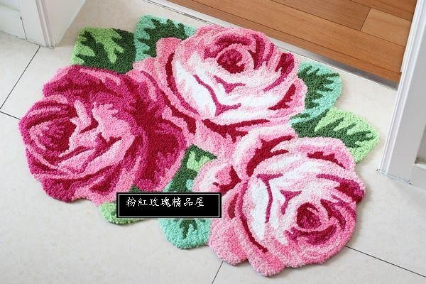 粉紅玫瑰精品屋~田園風格可愛玫瑰花環保地墊地毯防滑墊~