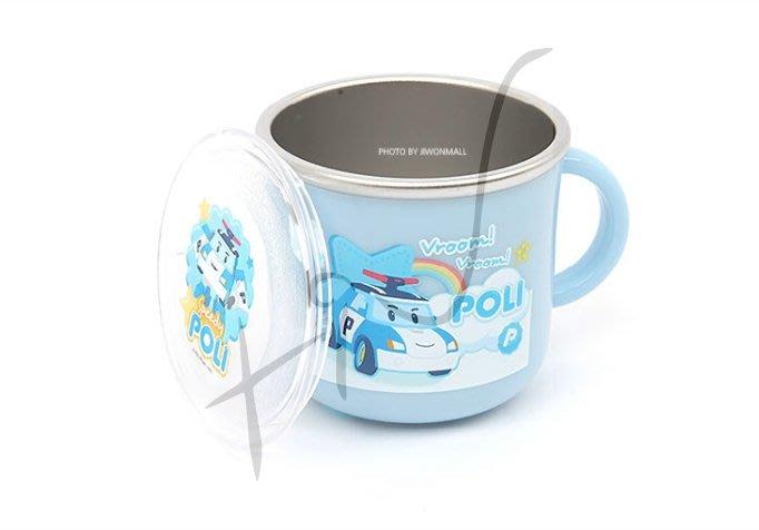 [佳恩現貨][POLI]不鏽鋼杯(附蓋子) #048266 救援英雄 波力 警車 不鏽鋼 無毒 水杯 韓國