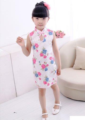 (特賣)~中國風~水滴領玫瑰花朵小旗袍