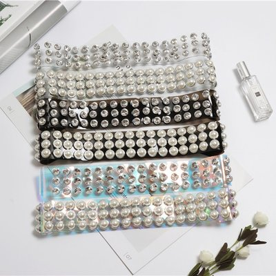 腰帶 塑膠 腰封-PVC珍珠/水鑽透明女配件3色73vh37[獨家進口][米蘭精品]